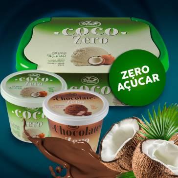 Linha zero açúcar. Sabores: Coco e Chocolate