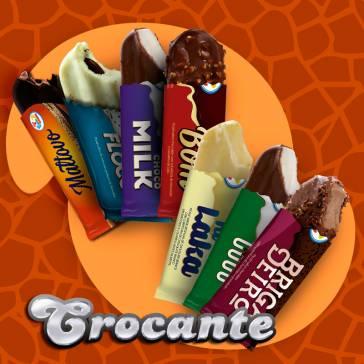 Crocante. Sabores: Chocobom, Choco Milk, Chocoblito, Flocos, KI- Laka, Brigadeiro.