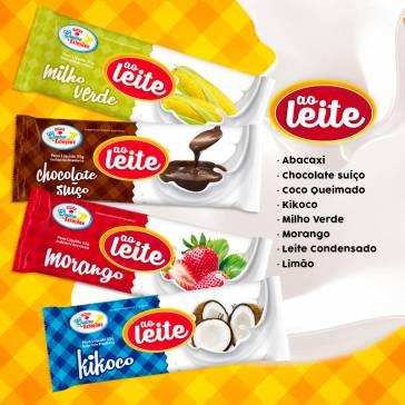 Ao leite. Sabores: abacaxi ao leite, chocolate suiço, coco queimado,goiaba, ki-coco, leite condensado, limão ao leite, milho verde e morango.