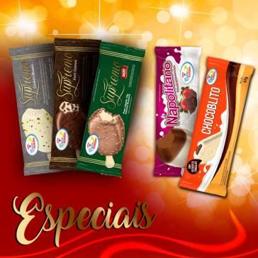 Especiais. Cookies Branco, Supremo Duo, Petit Gateau, Napolitano, e Chocoblito.